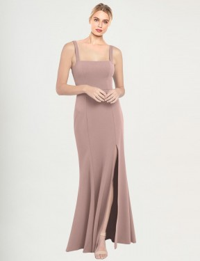 Dusty Pink Floor Length Long High Neck Square Fernella Bridesmaid Dress Perth