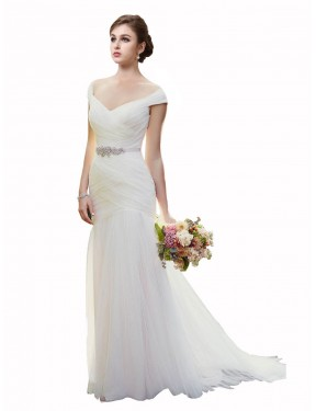 Ivory Chapel Train Long Off the Shoulder Blakely Wedding Dress Perth