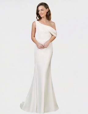 Shop Ivory Sweep Train Long One Shoulder Cantrell Bridesmaid Dress Perth