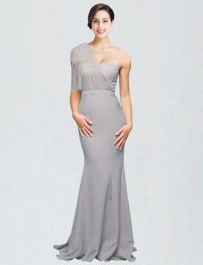 Oyster Silver Sweep Train Floor Length Long Sweetheart One Shoulder Dominic Bridesmaid Dress Perth