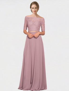 Pink Floor Length Long Off the Shoulder Louise Bridesmaid Dress Perth