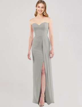 Silver Floor Length Long Sweetheart Strapless Astride Bridesmaid Dress Perth