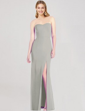 Silver Floor Length Long Sweetheart Strapless Isabel Bridesmaid Dress Perth